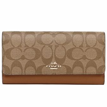 Coach Trifold Wallet In Signature - Khaki