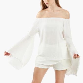 Coco Cabana Off-Shoulder Angel-Sleeved Top (Off White)