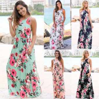 Cocoepps 2017 women Maxi vintage Elegant dresses Summer New Style Sleeveless O-neck Floral Printed Flower Party Long Dress - intl