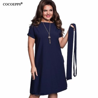 COCOEPPS Elegant Casual women dresses big sizes NEW 2017 plus size women clothing Summer style o-neck bodycon Chiffon Dress - intl