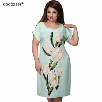 COCOEPPS Elegant Floral Print Dresses Big Size Square Collar Women Summer Dress 2017 New Fashionable Plus Size Female Dresses - intl