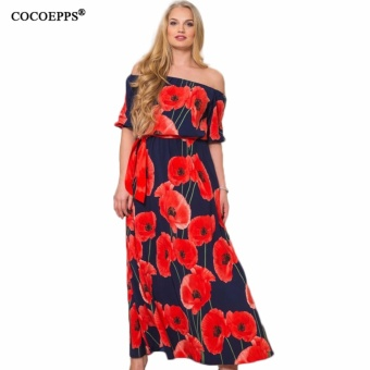 COCOEPPS Vintage Floral Printed Women Dress Big Sizes 2017 Summer Sexy Off-Shoulder Maxi Dresses Plus Sizes Half Sleeve Vestidos - intl