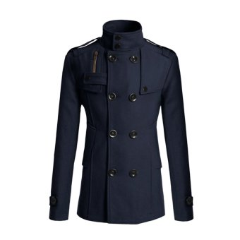 Cocotina Men Double Breasted Coat Peacoat Winter Jacket Overcoat (Dark Blue)