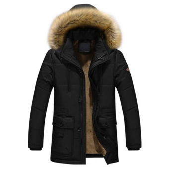 Cocotina Mens Warm Cotton Jacket Fur Collar Thick Winter Coat Outwear Hooded Parka - Black - intl