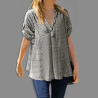 Cocotina Trendy Maternity Women Loose Short Sleeve T Shirts Casual Blouse Pregnant Check Print Tops (Black & White) - intl - 2