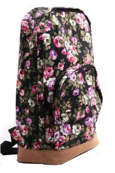 Cocotina Vintage Floral Travel School Bag Backpack Black