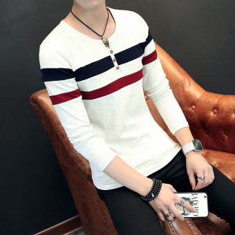 Collar tide autumn New style long-sleeved t-shirt (Gray 6010)