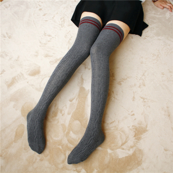 College style women knee high socks long socks (Two bar-dark gray)