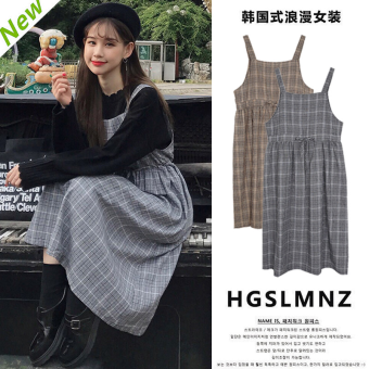 College Wind New style lace plaid dress (Casual color)