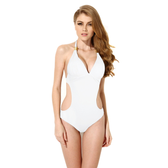 Colloyes 2015 New Sexy White One-piece Swimwear with Cut-out Side Size M