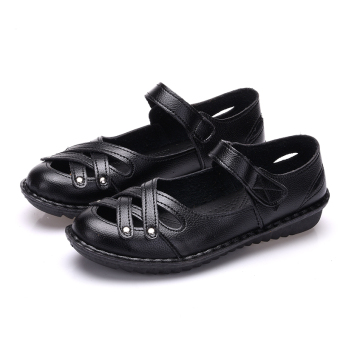 Comfortable soft bottom summer flat work shoes women's sandals (Black 306)