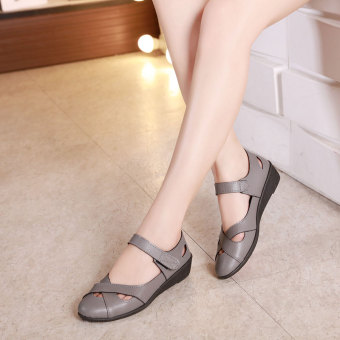 Comfortable soft bottom summer flat work shoes women's sandals (Gray)