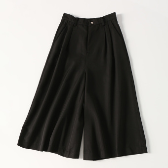 Commuter business high-waisted semi-wide leg pants (Black)
