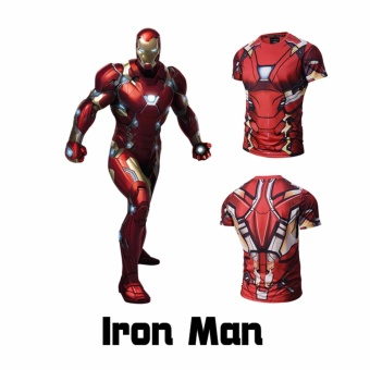 Compression Avengers Ironman Shirt Men's Short Sleeve CasualBodybuilding T-Shirt - intl