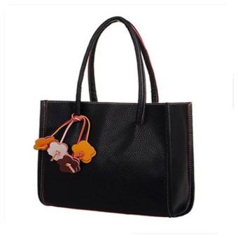 Contrast Color Retro Handbags Casual Shoulder Bags Black