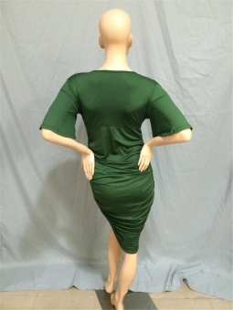 Cool Cool Women's Plus Size Sexy Fashion Casual V-Neck Dress(Green)- intl - 5