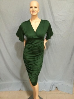 Cool Cool Women's Plus Size Sexy Fashion Casual V-Neck Dress(Green)- intl - 3