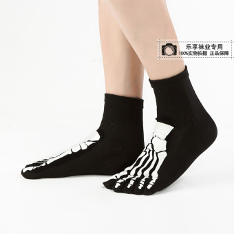 Cool cotton skull grip socks toe socks (Claws models black)
