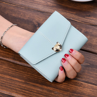 Cool student three folding leather wallet (Light blue with shipping insurance)