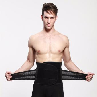 Corset For Posture Corrector Men Back Brace Fitness Accessories Fitness Weight Lifting Belt Back Belt Slimming Lumbar Support waist belt (Black) - intl