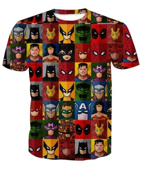 Cosplay Superhero Print Male T-shirts Fashion Casual Couples TopsBatman Costume Men Tees Slim Fit Fitness T Shirts Short Sleeve -intl