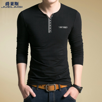 Cotton autumn and winter men's long-sleeved t-shirt (-Black-)