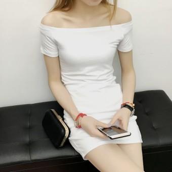 Cotton black and white striped horizontal neck sheath dress for women (White)