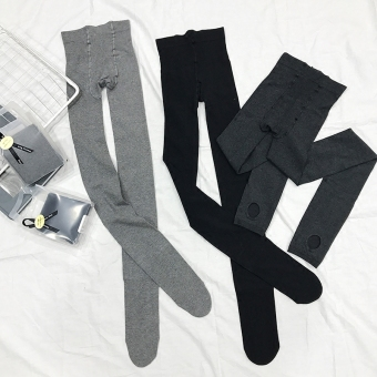 Cotton black female autumn long pants stepping bottoming pants (Light gray color (Stepping))
