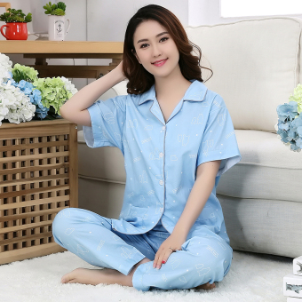Cotton Cloth female cardigan summer tracksuit cotton cloth pajamas (Lucky polar bear (short sleeved))