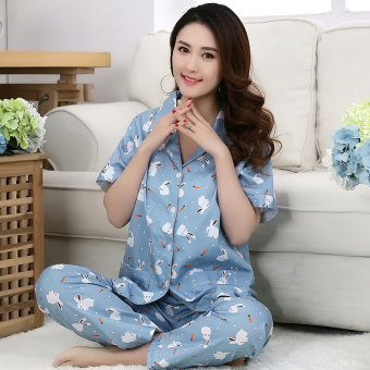 Cotton Cloth female cardigan summer tracksuit cotton cloth pajamas (Radish bunny (short sleeved))