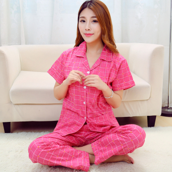 Cotton Cloth female cardigan summer tracksuit cotton cloth pajamas (Red plaid (short sleeved))