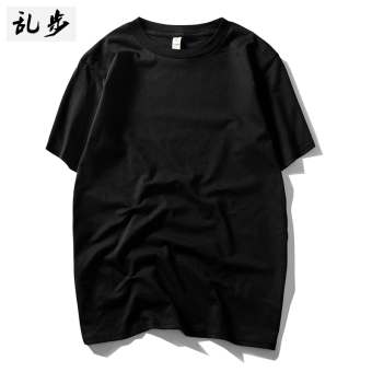 Cotton Fabric heavyweight thick short sleeved t-shirt (8201 solid color T black)