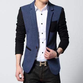 Cotton Fashion Knitted Sleeves Man Suit Jacket Casual Men Blazer(Blue) - intl