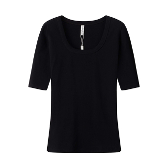 Cotton gray sleeve slim fit T-shirt female Top (Black (sleeve))