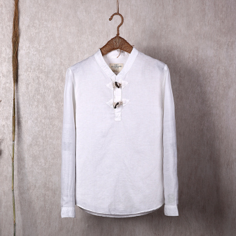 Cotton linen black male long-sleeved men's shirt linen shirt (White)