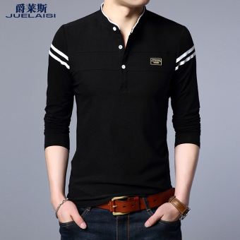 Cotton male small collar bottoming shirt T-shirt (Black)