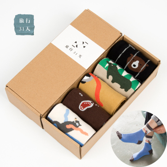 Cotton men autumn gift box dress socks men in tube socks (Bear paragraph)