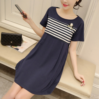 Cotton milk dress New style nursing dress nursing clothes (Blue)