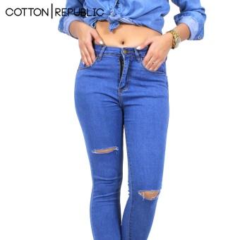 Cotton Republic Classy Denim Ripped Denim Jeans - Selena (DenimBlue) - 2