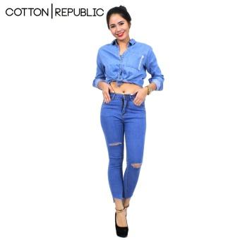 Cotton Republic Classy Denim Ripped Denim Jeans - Selena (DenimBlue) - 3