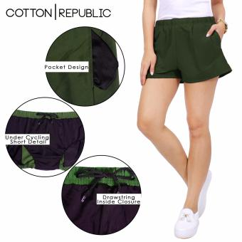 Cotton Republic Comfortable Walking Shorts with Cycling Shortsunder (Green) - 2