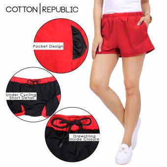 Cotton Republic Comfortable Walking Shorts with Cycling Shortsunder (Red)