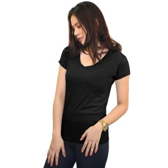 Cotton Republic Fashionable Plain Leggings (Black) with Free BlackV-Neck Top - 4