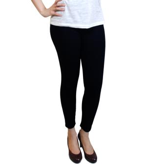 Cotton Republic Fashionable Plain Leggings (Black) with Free BlackV-Neck Top - 2