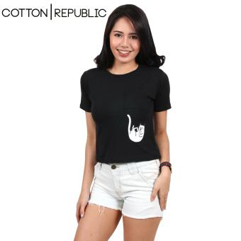 Cotton Republic Pocket Design Crop Top/Blouse - Naughty Cat (Black) Price Philippines