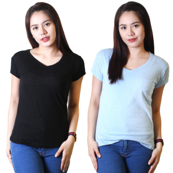 Cotton Republic Set of 2 Anastasia V-Neck Soft Top Blouse Black andBaby Blue