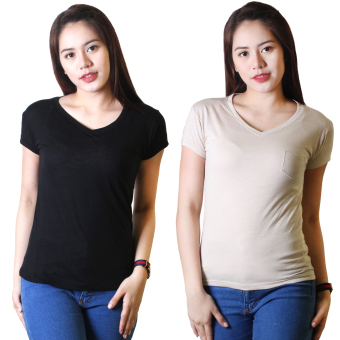 Cotton Republic Set of 2 Anastasia V-Neck Soft Top Blouse Black andCream