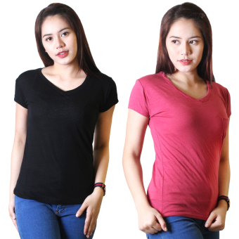 Cotton Republic Set of 2 Anastasia V-Neck Soft Top Blouse Black andHot Pink