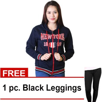 Cotton Republic Sophisticated NEW YORK 1896 Hooded Pullover Zip Up Jacket (Dark Blue) with Free Leggings (Black)