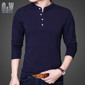 Cotton Slim fit collar youth heattech T-shirt (Dark blue color)